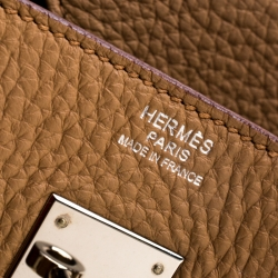 Hermes Tabac Camel Clemence Leather Palladium Hardware Birkin 30 Bag