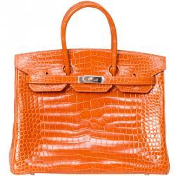 Hermes Orange Porosus Crocodile Palladium Hardware Birkin 35 Bag