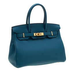 Hermes Bleu de Galice Togo Leather Gold Hardware Birkin 30 Bag