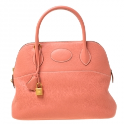 Hermes Rose Candy Togo Leather Bolide 31 Bag