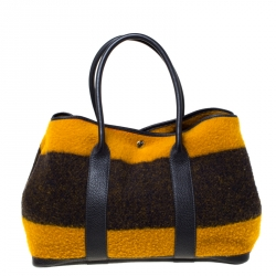 Hermes Tri Color Rocabar and Leather Garden Party 36 Bag