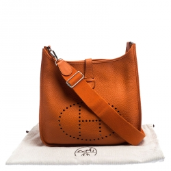 Hermes Orange Clemence Leather Evelyne III GM Bag