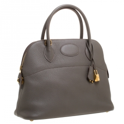 Hermes Etain Clemence Leather Bolide 31 Bag