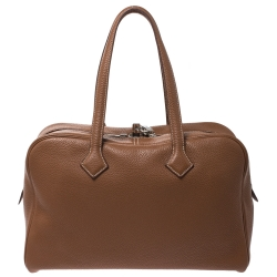 Hermes Gold Clemence Leather Palladium Hardware Victoria II 35 Bag