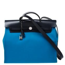 Hermes Blue Indigo/Blue Zanzibar Canvas and Leather Herbag Zip 39 Bag