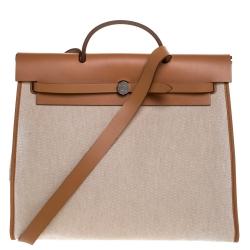 Hermes Natural/Beige Canvas and Leather Herbag Zip 39 Bag