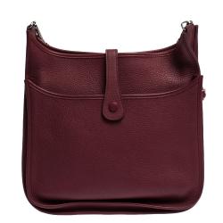 Hermes Ruby Clemence Leather Evelyne III GM Bag