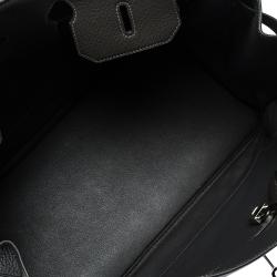 Hermes Graphite Clemence Leather Palladium Hardware Birkin 40 Bag