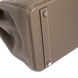 Hermes Etoupe Grey Togo Leather Palladium Hardware Birkin 40 Bag