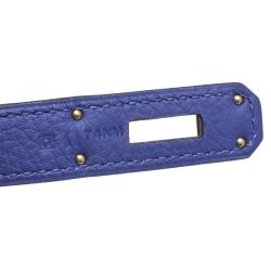 Hermes Blue Encre Evercolor Leather Gold Hardware Kelly Retourne 35 Bag