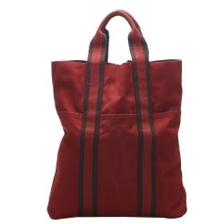 Hermes Red Canvas Fourre Tout Cabas Tote Bag