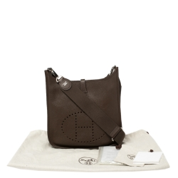 Hermes Chocolat Togo Leather Evelyne III PM Bag