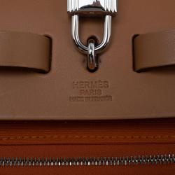 Hermes Brown/Orange Canvas and Leather Herbag Zip PM Bag