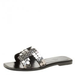 Hermes Black Leather Oran Clou de Selle Embellished Flat Sandals Size 37.5 4564fb2262