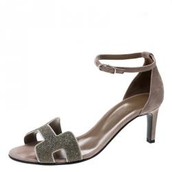 ef73afe49008 Hermes Beige Suede Night Crystal Powder Ankle Strap Sandals Size 40