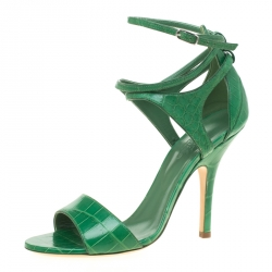 ff162e82b Hermes Green Crocodile Leather Cross Ankle Wrap Sandals Size 38