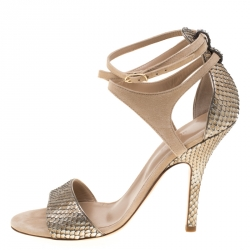 f3652986d6 Hermes Metallic Beige Python Leather And Suede Cross Ankle Wrap Sandals  Size 38