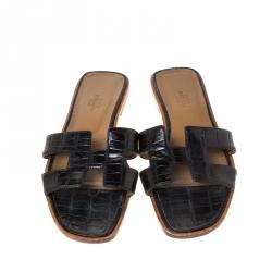 Hermes Black Crocodile Oran Flat Slides Size 39