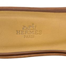 Hermes Brown Leather Oran Box Leather Sandals Size 37