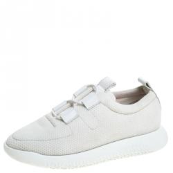 Hermes White Mesh Team Sneakers Size 38