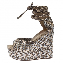 Hermes Multicolor Braided Leather And Raffia Platform Ankle Strap Wedge Sandals Size 38