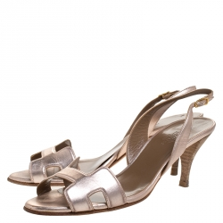 Hermes Metallic Bronze Leather Night Slingback Sandals Size 39