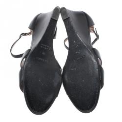 Hermes Black Leather Legend Wedge Ankle Strap Sandals Size 40
