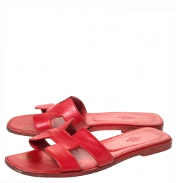 Hermes Red Leather Oran Slide Flats Size 39