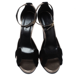 Hermes Black/Grey Suede and Leather Highlight Ankle Strap Sandals Size 40