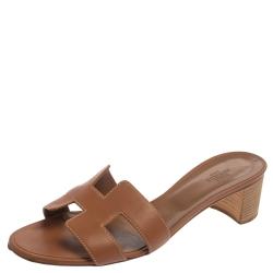 Hermes Brown Leather Oran Block Heel Sandals Size 40