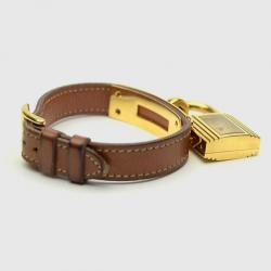 Hermes Gold Brown Leather Kelly Womens Wristwatch 20 MM