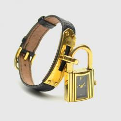 Hermes Gold Black Leather Kelly Womens Wristwatch 20 MM