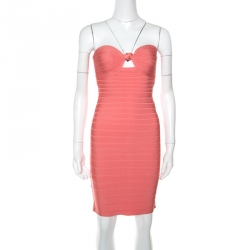 585b69f27b9a Herve Leger Coral Pink Strapless Arabella Bandage Dress S