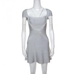 6bf13d6e5d Herve Leger Icy Grey Cap Sleeve Makayla Bandage Skater Dress XXS