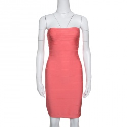 49e716537015 Herve Leger Peach Blush Knit Strapless Bandage Dress S