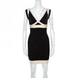 7acc771325 Herve Leger Black and Cream Plunge Neck Detail Sleeveless Ilia Bandage  Dress S