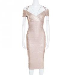 a8d3c5bda899 Buy Herve Leger Foil Printed Rose Gold Knit Sophia Bandage Mermaid ...
