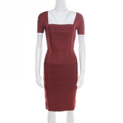 1d424d3932b5 Herve Leger Burgundy Stretch Knit Cap Sleeve Bandage Dress XS