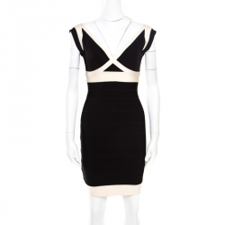 0c8a078102ce Herve Leger Black and Cream Plunge Neck Detail Sleeveless Ilia Bandage Dress  S