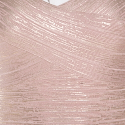 Herve Leger Dusty Rose Gold Foil Printed Tejana Bandage Dress XS