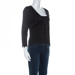 Herve Leger Black Knit Front Tie Cardigan and Top Set M