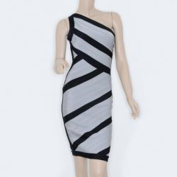 Herve Leger Black and Grey One Shoulder Bandage Dress S
