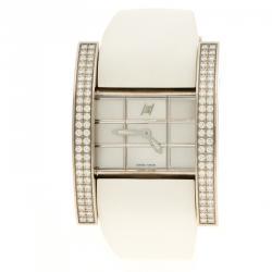 Hysek Mother of Pearl White Gold Diamond Rectangular  Women's Wristwatch 36 mm