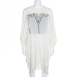 3cc2b6fcb121a Isabel Marant Etoile Cream Cutout Embroidered Detail Fringed Enery Dress S