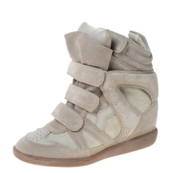 Isabel Marant Cream Suede And Leather Trim Bekett Wedge Sneakers Size 37