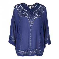 8dbc4a4ee4794 Isabel Marant Etoile Navy Blue Cutout Detail Embroidered Short Sleeve Top M