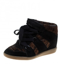 597a2890c11 Isabel Marant Black Printed Ponyskin and Suede Blossom Lace Up Wedge  Sneakers Size 39