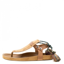 Isabel Marant Brown Suede and Leather Cook Lee Tassel Flat Sandals Size 40