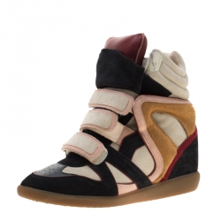 6cc45f79fa Isabel Marant Multicolor Suede And Leather Bekett Wedge Sneakers Size 40