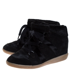 Isabel Marant Black Suede And Pony Hair Bobby Wedge Sneakers Size 37